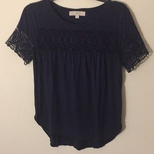 Loft Navy Top with Lace - Size Small